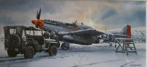 P51 Mustang USSAF Old Crow  'Winter of 45' Aircraft Aviation Christmas Card