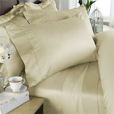 King Size Ivory Solid 4 Piece Sheet Set 1000 Thread Count 100% Egyptian Cotton