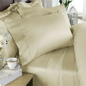 King Size Cream Solid 4 Piece Sheet Set 1000 Thread Count 100% Egyptian Cotton