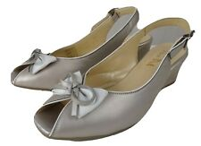 Van Dal Roseville Silver Bow Wedge Leather Slingback Shoes Peep Toe UK 5