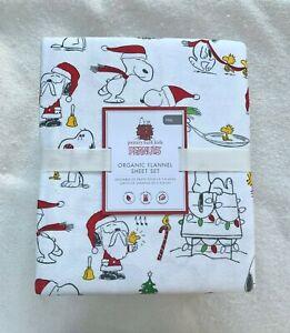 Pottery barn Kids Organic Peanuts® Holiday Flannel Sheet Set Full