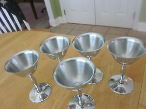 Chrome Stainless Goblet Lot of 5 Wine Glasses NS Co National Silver Co. Art Deco