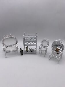 Dollhouse Miniature Furniture White Wire 4 Piece Lot Baby Buggy Chairs Shelves