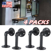 4PCS Home Decor Industrial Iron Pipe Shelf Bracket Wall Mounted Floating Shelves