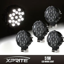 """4x 7"""" Inch 51W Black Spot LED Light Offroad Round Work Lamp For Truck 4WD Jeep"""