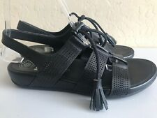 FitFlop GLADDIE Black Perforated Leather Tassel Sandals Slingback Women's Size 8