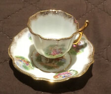 New listing Stunning Sweet Tiny Limoges France Tea Cup & Saucer Set Victorian Couple Gold
