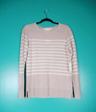 C&C CALIFORNIA 100% 2 PLY CASHMERE BROWN BEIGE STRIPED SWEATER TOP M NWT