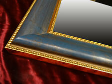 Espejo de Pared Antiguo Azul Oro Aus Marco Madera 95x65 cm Kristall-Form Nuevo