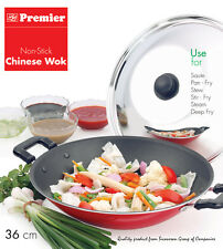 Premier Non-Stick Chinese Wok Stir Fry Pan with SS Lid 36 cm