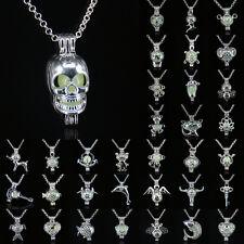 Women Punk Glow in the Dark Cage Hollow Pendant Locket Luminous Chain Necklace