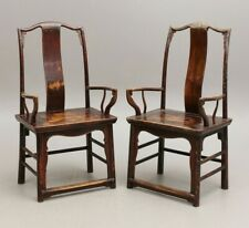 More details for a rare chinese pair official's hat' yokeback armchair 18th/19th century