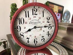 Antiquitè  De Paris 28 Rue Murillo Red Distressed Metal Rim Wall Clock 12 5/26