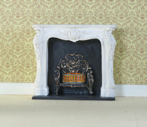White Rocco Style Fireplace, Dolls House Miniature 1.12 Scale