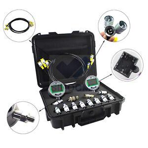 Digital Pressure Gauge Kit with 2PCS 80MPA/12000PSI Pressure Gauges 3 Test Hoses