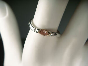 Rare 18K White 2-Tone Gold Fancy Color Pink Diamond Designer Stacking Band Ring