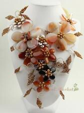 N14021301 brown grey coin FW pearl flower necklace earrings set