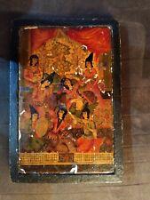 Perse  Antique Qajar papier maché et laqué  coffret à miroir XVIII  18th Iran