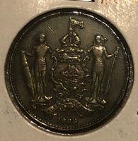 1888 British North Borneo 1 Cent Bronze Collectible Coin- KM2 Malaysia