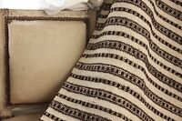 Vintage folk art throw blanket Homespun wool hemp blanket  linen brown stripe