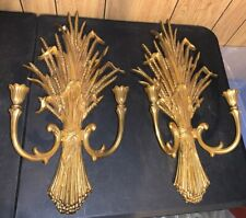 """Gold Toned Plastic Wall Hanging Candle Holder 24""""x 12"""" Dart Ind. Made in Usa"""