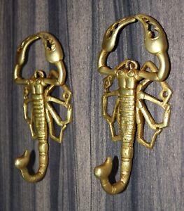 Brass Scorpion Wall Hook Set Of 02 Hooks Tarantula Design Wall Decor RU100