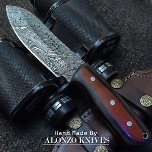 ALONZO USA CUSTOM HANDMADE DAMASCUS SURVIVAL HUNTING KNIFE MICARTA HANDLE  23136