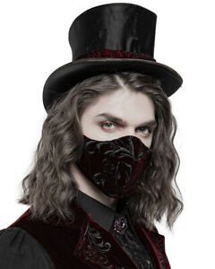 Punk Rave Mens Gothic Steampunk Face Mask Mouthguard Red Velvet Black Embroidery