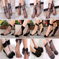 Girls Fishnet Mesh Lace Ruffle Socks Sheer Silky Glitter Short Ankle Stockings