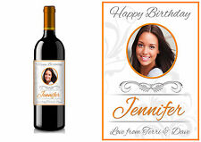 PERSONALISED WINE BOTTLE PHOTO LABEL BIRTHDAY ANY OCCASION GIFT