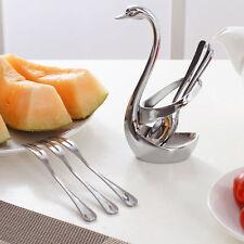 Stainless Steel Fruit Fork&Spoon with Base Coffee teaspoon Cutlery Swan Set