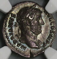 134 Hadrian NGC AU Roman Empire Denarius Unpublished Military Victory (18120401C