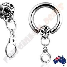 316L Surgical Steel 16G Captive Bead Ring with Skull & Handcuff Dangle
