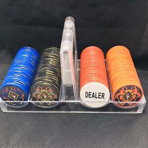 SET OF 200 Professional POKER CHIPS CLEAR TRAVEL CASE w/ Handle & Dealer Chip PP