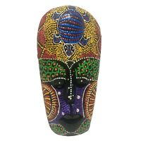 Hand Carved Wooden African Tribal Turtle Mask Dot Painting Wall Art Hanging