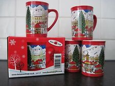 4 CHRISTMAS MUGS WITH TYPICAL EUROPEAN ALPINE DESIGN
