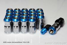 Chrome Cone Seat Blue Nut 20pcs + 2 Key m12x1.25 For Infiniti G35 Sedan 2006 A25