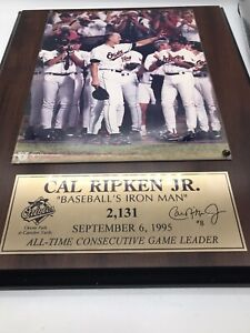 CAL RIPKEN JR, BASEBALL'S IRON MAN GLOSSY PHOTO PLAQUE Sept6 1995