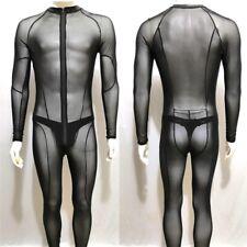MEN MESH TRANSPARENT BODYSUIT HONEYMOON CATSUIT DRESS JUMPSUIT BODY UNDERWEAR