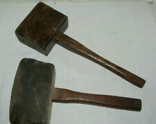 Lot of 2 Antique/vintage Wooden Wheelwright Mallets Hammers Very Solid! LQQK!
