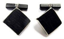 VIRGIL HANDMADE Sterling & Ebony Wood Cufflinks MidCentury Modern ~Fine Handsome