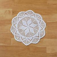 4Pcs/Lot White Vintage Cotton Hand Crochet Lace Doilies Round Placemat 30cm