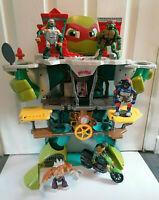 Imaginext Teenage Mutant Ninja Turtles Half Shell Lair HQ & Motorbike & Figures