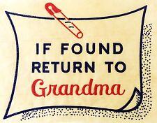 Original Vintage If Found Return To Grandma Mini Iron On Transfer