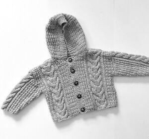 Hand Knit Grey Cable Hoodie Cardigan Age 3 - 4 Years Chunky Handknitted Top