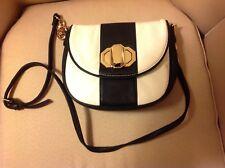 New Deux Lux Handbag-Jules Gold Turn-Lock Crossbody Bag Black & White NWT