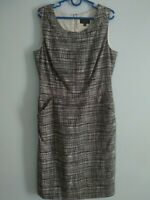 Pure Collection 100% silk pencil Black White Lines dress with pockets size UK12