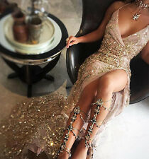 Nude & Gold Sequin Tassel Fringed Sparkly Boutique Maxi Dress Sizes XS-L 6-12