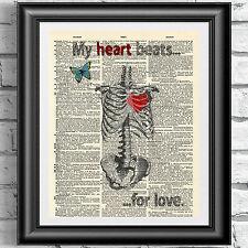 Original art print on dizionario libro antico pagina Il mio cuore batte per amore
