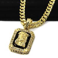 "14k Gold Plated Hip-Hop Black Ruby Jesus Face 30"" Cuban Chain Necklace D794"